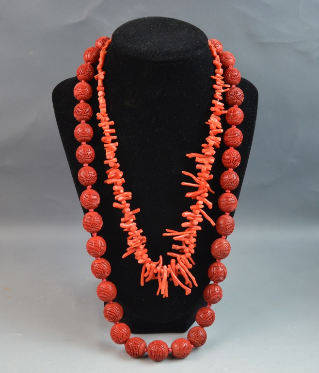 Two Coral and Lacquer Carved Necklaces