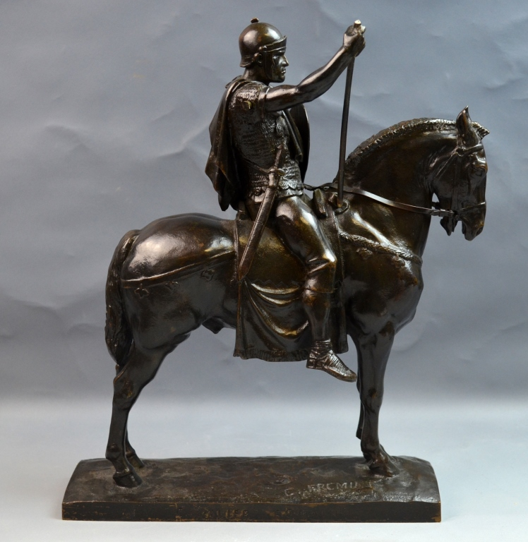 Bronze Statue of A Man on the Horse with Signature