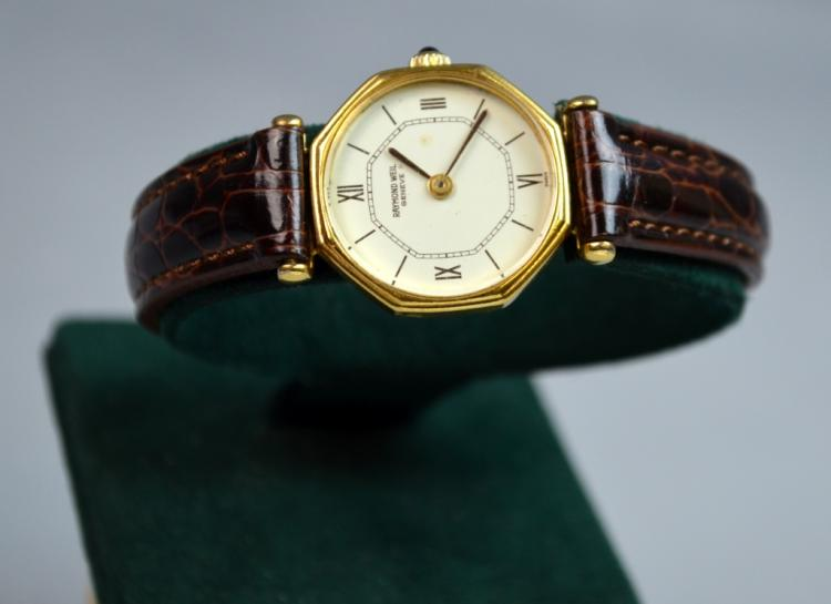 14 K Gold & Stainless Steel Back Swiss Watch