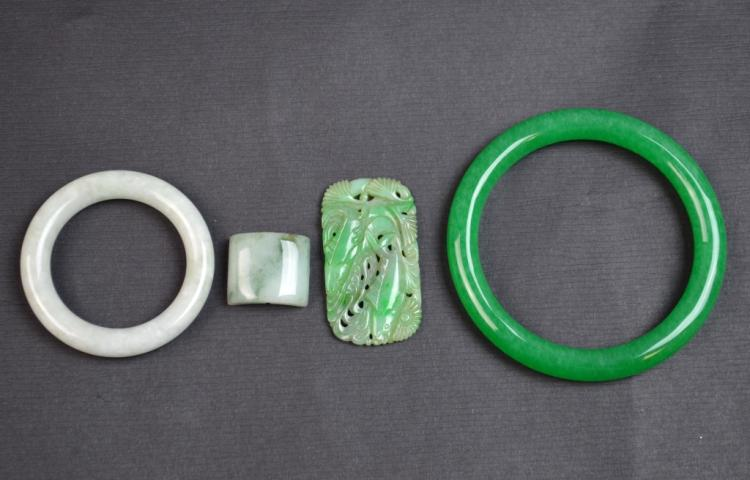 Four Chinese Jade/Jedaite Carved Items