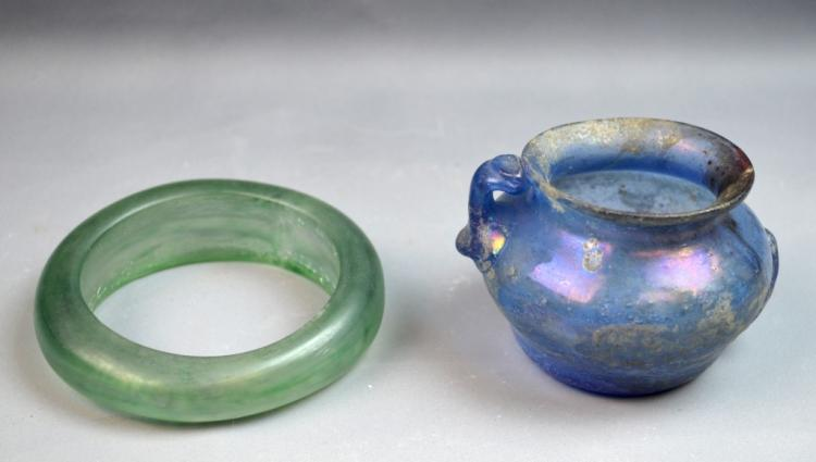 Two Glass Vase and Bangle