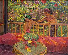 ADRIEN JEAN LE MAYEUR DE MERPRES | Two Balinese Women at the Verandah