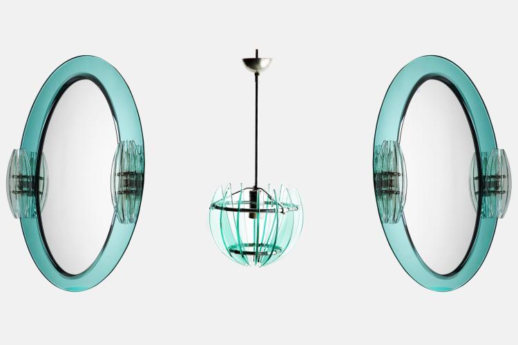 Ensemble composé d'une paire de miroirs biseautés éclairants et d'une suspension