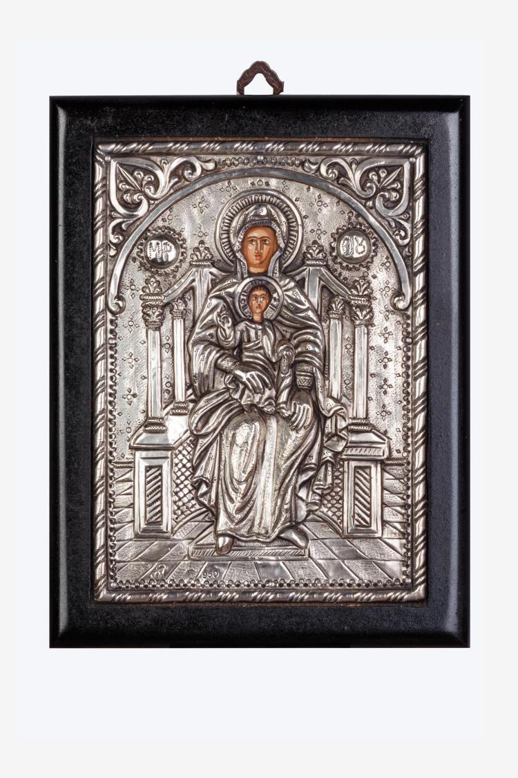 Vierge en majesté Et l'enfant Dieu assis sur ses genoux.
