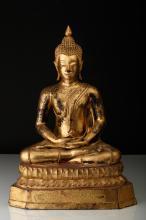 Statuette de Bouddha en bronze laqué or