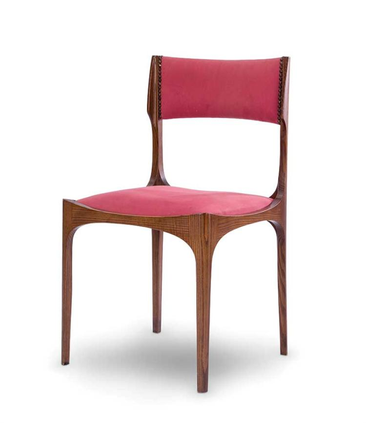 Lot 138 Giuseppe Gibelli Six chaises en bois et tissu