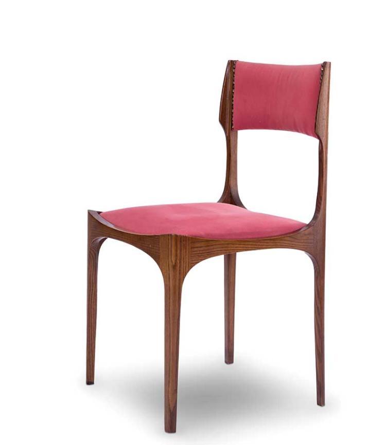 Giuseppe gibelli six chaises en bois et tissu - Chaise bois tissu ...