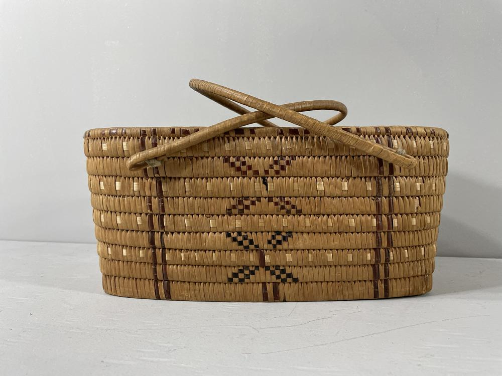 Coast Salish oval handle berry basket