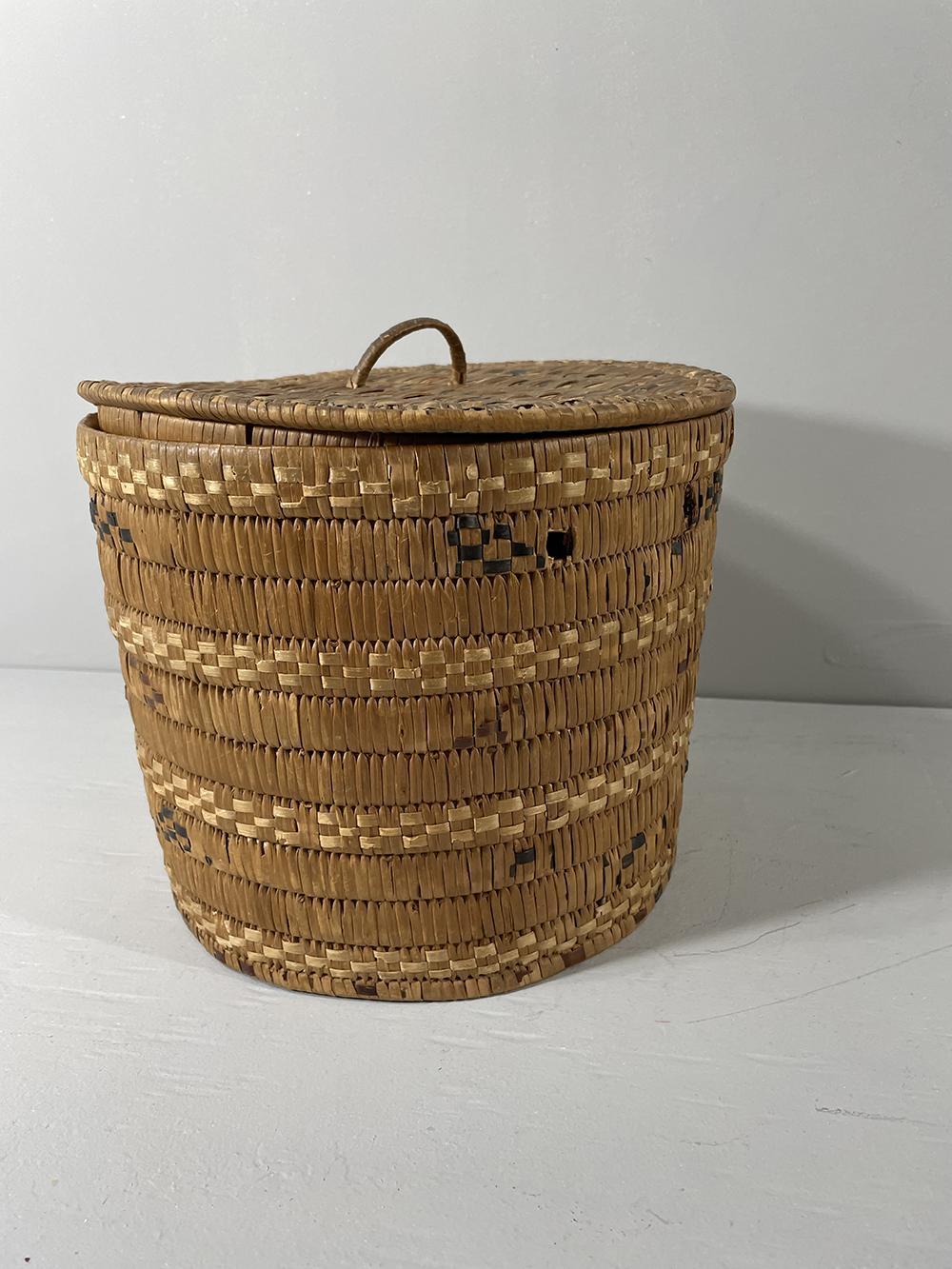 Coast Salish round lidded basket