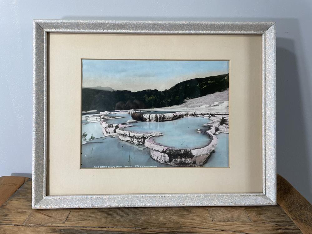 2pcs: Handtint photographs, Pink Terrace and Cold Water Basins White Terrace, New Zealand, Charles Spencer