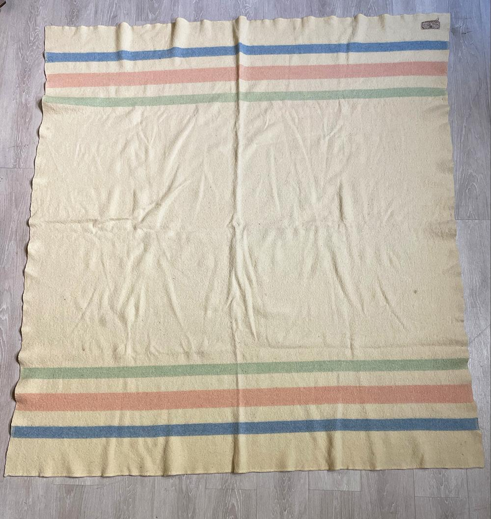 Hudson's Bay Co. 100% wool, White with green, pink, blue stripes blanket