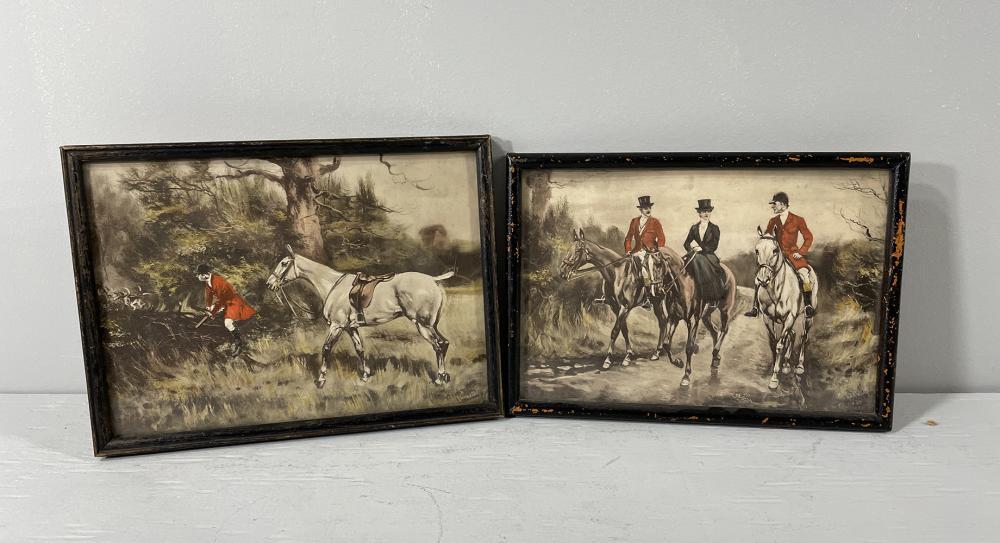 "2 pcs: Equestrian lithographs ""The Hunt"""