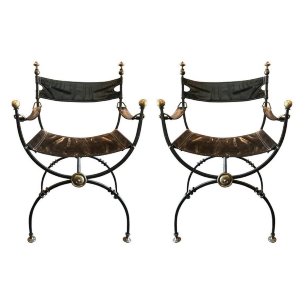 1900-1950 A Pair Of Savonarola Chairs Furniture