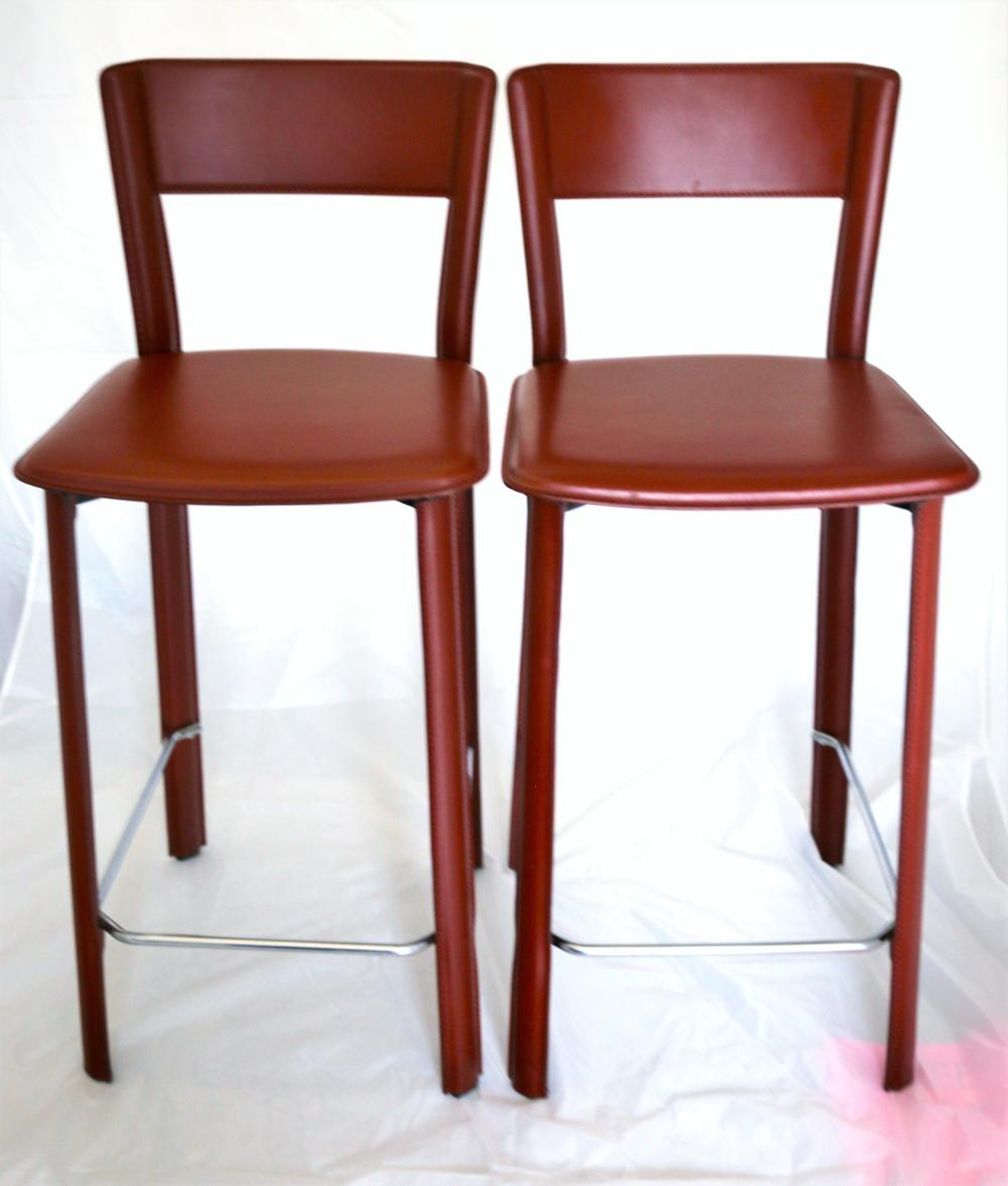 Surprising Set Of Four Mid Century Modern Hermes Style Italian Leather Camellatalisay Diy Chair Ideas Camellatalisaycom