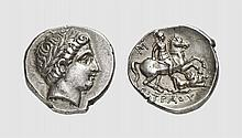 PAEONIA, A SILVER TETRADRACHM OF PATRAOS, ca. 333-315 BC, 12.556g, 4h. Paeonian Hoard 245. Nicely toned. A particularly fine and unusually centered example. Choice extremely fine. Tradart November 1993 lot 71 The Paeones were a widespread Thracian