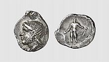 CRETE, A SILVER STATER OF ELEUTHERNA, ca. 300-280 BC, 11.426g, 3h. Le Rider pl. 31, 3 (this coin). Very rare. Attractively toned. Perfectly centered and struck on a broad flan. One of the finest known. Choice extremely fine. Former Serge Boutin