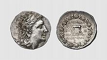 PONTUS, A SILVER TETRADRACHM OF MITHRADATES VI EUPATOR, Pergamon, ca. 74 BC, 16.790g, 11h. Callataÿ D60/R1c (this coin). Old cabinet tone. Broad flan. Extremely fine. Acquired privately from Tradart; Victor Gadoury October 1980 lot 267 The greatest