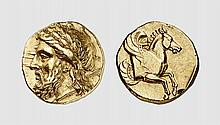 MYSIA, A GOLD STATER OF LAMPSAKOS, ca. 350-340 BC, 8.431g, 3h. JIAN 1902 (5) 9h = Baldwin 29s (this coin). Very rare. Attractively toned with underlying luster. A lovely coin with a powerful head of Zeus of the finest late classical style. Minor
