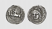 SICILY, A SILVER TETRADRACHM OF SYRACUSE, reverse die signed by the Master Eukleidas, ca. 405-400 BC, 16.642g, 10h. Baldwin 57 = Tudeer 58a = SNG Lloyd 1384 (these dies). Pozzi 1278 (these dies). Perfectly centered and struck on a broad flan. An