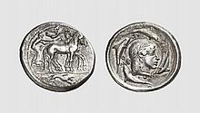 SICILY, A SILVER TETRADRACHM OF SYRACUSE, unsigned work by the Demareteion Master, ca. 478-466 BC, 16.858g, 5h. SNG Lloyd 1306 = Schwabacher, Das Demareteion, pl. 5, 3 (these dies). Very rare. Lightly toned. Among the most famous of all Greek