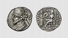 PARTHIA, A BILLON TETRADRACHM OF VOLOGASES III, Seleukeia on the Tigris, 123-124 AD, 10.136g, 12h. Attractively toned. Perfectly centered and struck. Extremely fine. Acquired privately from Tradart; Victor Gadoury October 1980 lot 471
