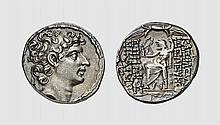 SYRIA, A SILVER TETRADRACHM OF SELEUCOS VI, Antioch, ca. 95-94 BC, 16.041g, 12h. SC 2415C. Old cabinet tone. Perfectly centered and struck. Choice extremely fine. Acquired privately from Tradart