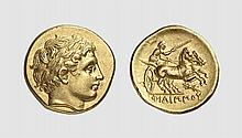 MACEDON, A GOLD STATER OF PHILIP II, Pella, ca. 359-336 BC, 8.601g, 9h. Le Rider 426. Lightly toned with underlying luster. Perfectly centered and struck from artistic dies. Virtually as struck and almost Fdc. Tradart December 1999 lot 34