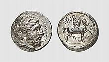 MACEDON, A SILVER TETRADRACHM OF PHILIP II, Pella,  ca. 359-336 BC, 14.317g, 5h. Le Rider 525. Old cabinet tone. Sharply struck. Attractive early Hellenistic style. Virtually as struck and almost Fdc. Acquired privately from Tradart