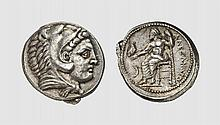 MACEDON, A SILVER TETRADRACHM OF ALEXANDER III, Amphipolis, ca. 325-323 BC, 17.201g, 8h. Price 89. Attractively toned. Excellent early style. Virtually as struck and almost Fdc. Acquired privately from Tradart; Gorny & Mosch 1989 (44) lot 225