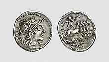 A SILVER DENARIUS OF M. ABURIUS M.F. GEMINUS, Rome, ca. 132 BC, 3.912g, 12h. Crawford 250/1. Old cabinet tone. Good extremely fine. Tradart November 1995 lot 133