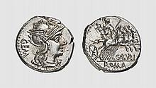 A SILVER DENARIUS OF C. ABURIUS GEMINUS, Rome, ca. 134 BC, 3.961g. Crawford 244/1. Lightly toned. Virtually as struck and almost Fdc. Acquired privately from Tradart