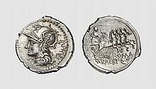 A SILVER DENARIUS OF M. BAEBIUS Q.F. TAMPILUS, Rome, ca. 137 BC, 3.872g, 10h. Crawford 236/1a. Lightly toned. Exceptional broad flan. Extremely fine. Acquired privately from Tradart