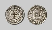 EARLY MEDIEVAL COINS,  Louis I the Pious (814-840),  Denier au Temple (814-840) (Silver,