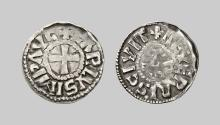 EARLY MEDIEVAL COINS,  Charles le Chauve (843-877),  Denarius (843-877) (Nevers) (Silver,