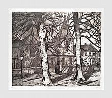 Frison Jehan (1882-1961). L'Eglise de Linkebeek. Eau-forte. 43 x 53 cm (à vue). Signé en bas à droite et numérotée 55/100