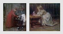 Lot de 4 petites peintures sur des thèmes religieux et divers