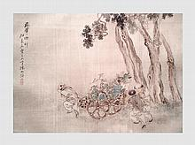 Peinture asiatique représentant trois hommes tirant une charrette. XIXème siècle.