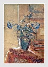 Evrard Paula (1876-1927). Nature morte aux hortensias. Aquarelle sur carton. 18 x 12,5 cm (à vue). Signé en bas à droite.