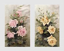 Rodenbach Helène (1876-1964). Paire de natures mortes aux fleurs. Huile sur toile. 59 x 33 cm.