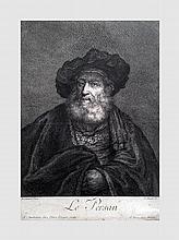 Lot de 5 aeuvres comprenant 4 reproductions et une technique mixte dont une gravure de Rembrandt par Jean Daullé.