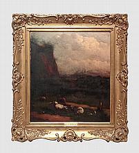 Carpentero L. (XIXème). Pâturage. Huile sur panneau. 49 x 45 cm. Signé en bas à droite. Cadre en bois doré.