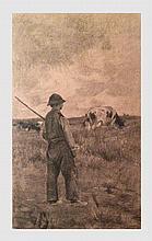 Van Damme-Silva Emile (1853-1935). Le vacher. Fusain sur papier. 64 x 37 cm (à vue). Signé et daté 1888 en bas à droite.