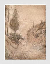 Castillo J.H. Chemin de campagne. 28 x 21 cm. Signé et daté en bas à gauche 1886. Déchirures en haut à gauche.