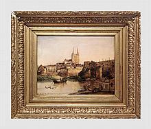Vue de la ville d'Angers. Huile sur toile. 33 x 42,5 cm. Signé en bas à gauche