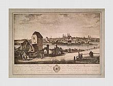 Vue de la ville de Munich (capitale de la Bavière) regardée du pont de l'Yser du côté du couchant. Gravure en couleur d'après l'aeuvre de Canaletto de 1761. 42 x 63 cm (à vue).