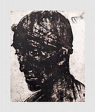 Portrait d'homme. Lithographie en noir et blanc numérotée 8/20. 64 x 48 cm (à vue).