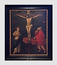 La Crucifixion. Christ en croix avec la Vierge Marie et Saint-Jean. XVIIème siècle. Huile sur toile. 95 x 77 cm