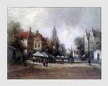 Ecole Hollandaise du XIXème siècle. Scène de marché. Huile sur toile. 50 x 40 cm. Signé en bas à droite