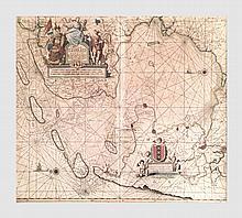 Van Keulen Johannes (1654-1715). Carte de la Zuider Zee. Gravure en couleur. 50 x 57 cm (à vue).