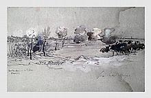 Hugo Victor (1802-1885). Bombardement du 5 février, Navarin. Lavis à l'encre de chine et aquarelle réhaussée. 15 x 23 cm. Signé en bas à droite.